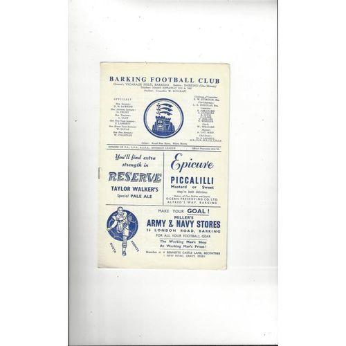 1958/59 Barking v Tilbury FA Cup Football Programme