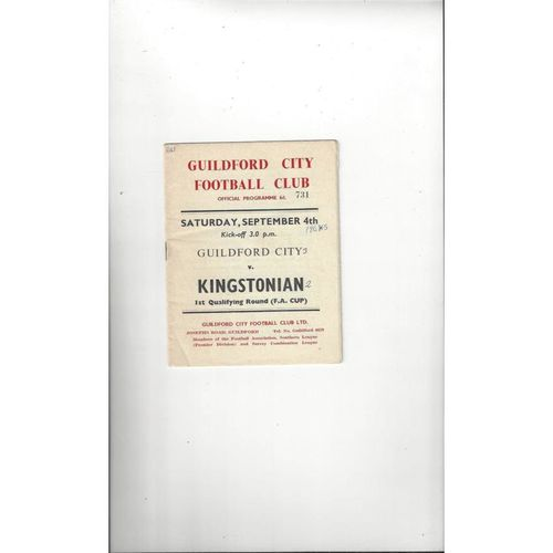 1964/65 Guildford City v Kingstonian FA Cup Football Programme