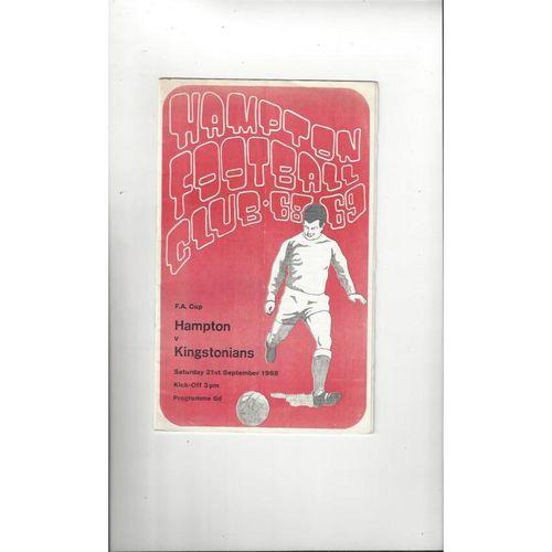 1968/69 Hampton v Kingstonian FA Cup Football Programme