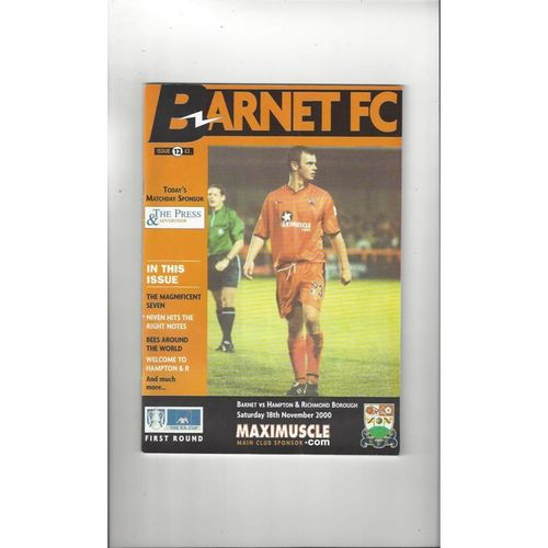 2000/01 Barnet v Hampton & Richmond Borough FA Cup Football Programme