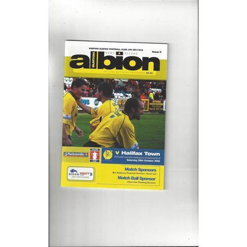 2002/03 Burton Albion v Halifax Town FA Cup Football Programme