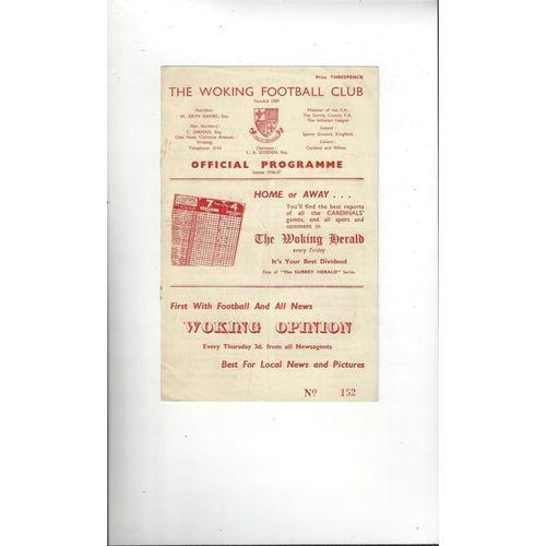 1956/57 Woking v Barking Football Programme