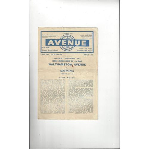 1957/58 Walthamstow Avenue v Barking London Amateur Cup Football Programme