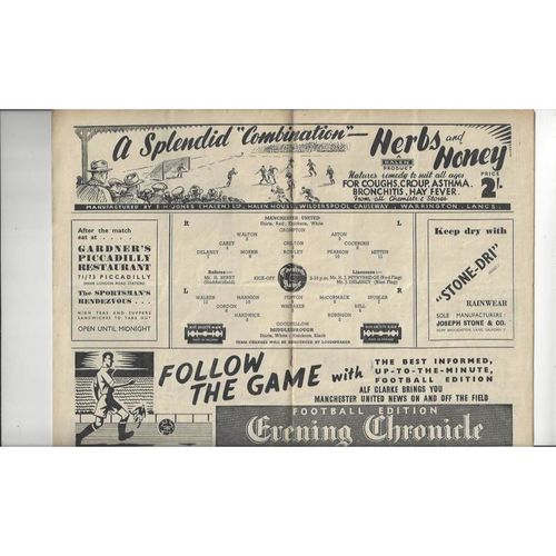 1947/48 Manchester United v Middlesbrough Football Programme