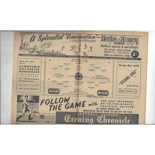 1947/48 Manchester United v Blackpool Football Programme