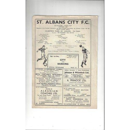 1956/57 St Albans City v Barking Football Programme