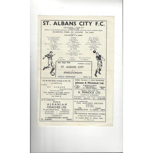 1958/59 St Albans City v Kingstonian Football Programme