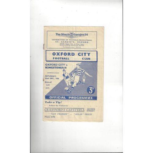 1956/57 Oxford City v Kingstonian Football Programme