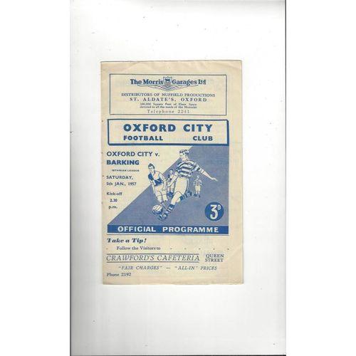 1956/57 Oxford City v Barking Football Programme