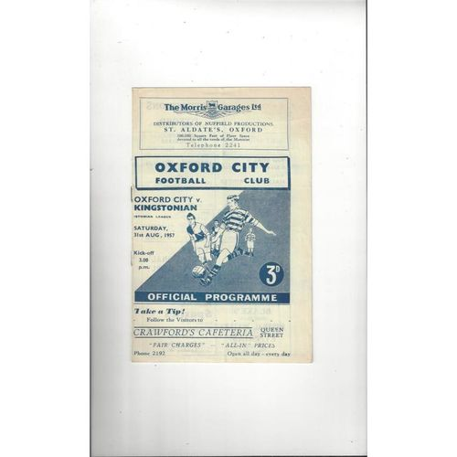 1957/58 Oxford City v Kingstonian Football Programme