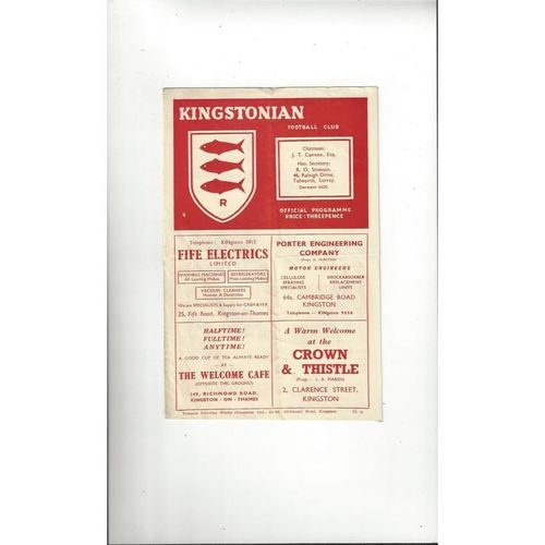 1952/53 Kingstonian v Finchley London Senior Cup Football Programme