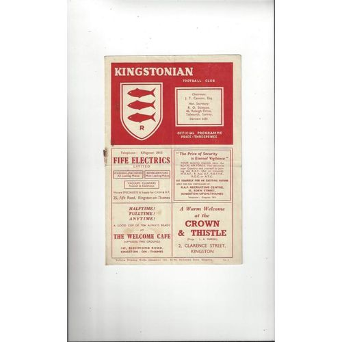 1952/53 Kingstonian v Dulwich Hamlet Football Programme