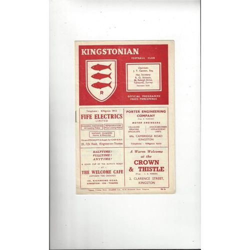 1953/54 Kingstonian v Carshalton Surrey Senior Shield Semi Final Football Programme