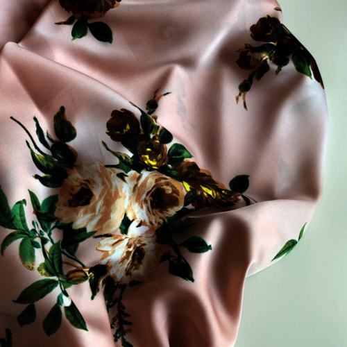 Blush Floral Soft Silky Satin Border Print