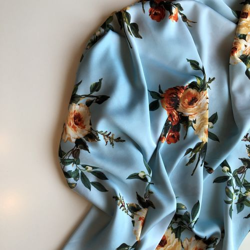 Blue Floral Soft Silky Satin Border Print