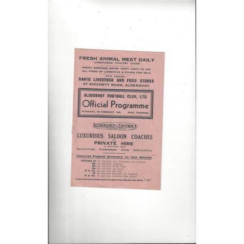 1947/48 Aldershot v Watford Football Programme