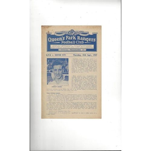 1947/48 Queens Park Rangers v Exeter City Football Programme