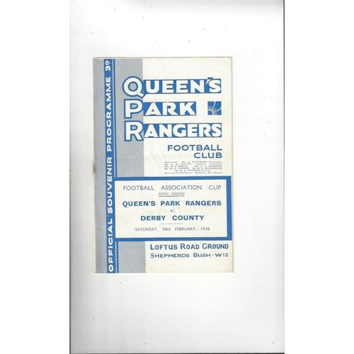 1947/48 Queens Park Rangers v Derby County FA Cup Football Programme