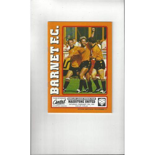 1991/92 Barnet v Maidstone United Football Programme