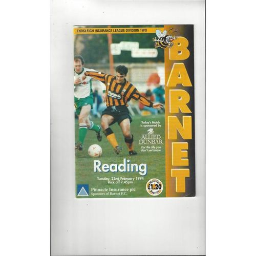 1993/94 Barnet v Reading Football Programme Postponed 22nd Feb.