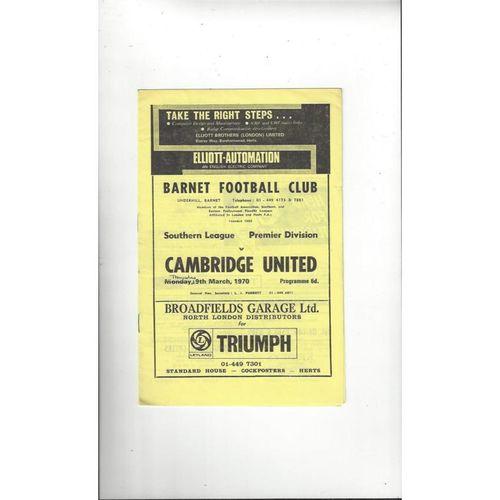 1969/70 Barnet v Cambridge United Football Programme