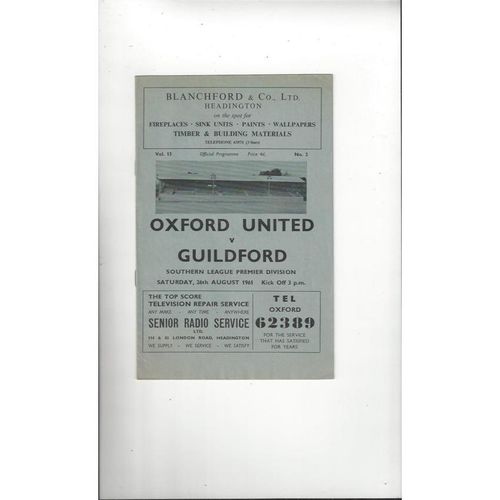 1961/62 Oxford United v Guildford Football Programme