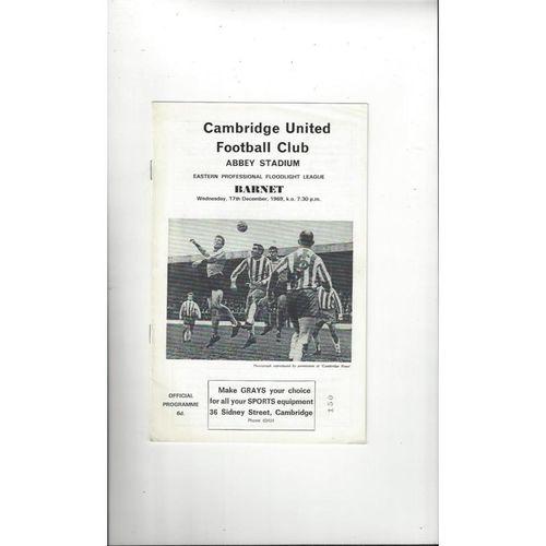 1969/70 Cambridge United v Barnet Eastern Floodlight Cup Football Programme