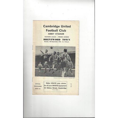 1969/70 Cambridge United v Brentwood Town Football Programme