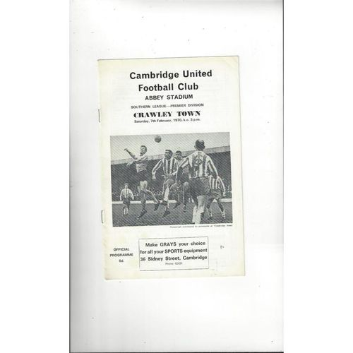 1969/70 Cambridge United v Crawley Town Football Programme