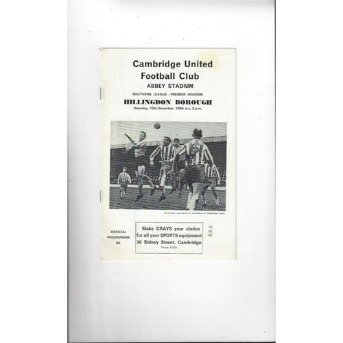 1969/70 Cambridge United v Hillingdon Borough Football Programme