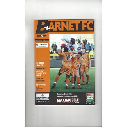 2000/01 Barnet v Darlington Football Programme
