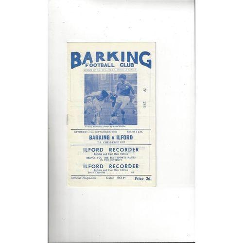 1963/64 Barking v Ilford Town FA Cup Football Programme