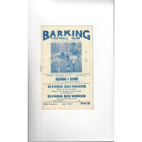 1962/63 Barking v Ilford Town FA Cup Football Programme