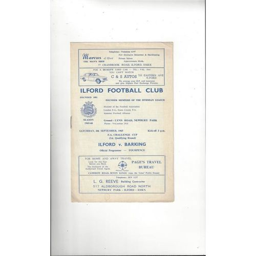 1965/66 Ilford v Barking FA Cup Football Programme