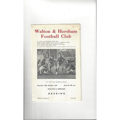 1969/70 Walton & Hersham v Barking FA Cup Football Programme