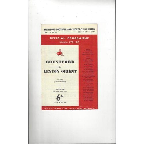 1961/62 Brentford v Leyton Orient FA Cup Football Programme
