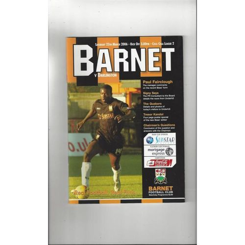 2005/06 Barnet v Darlington Football Programme