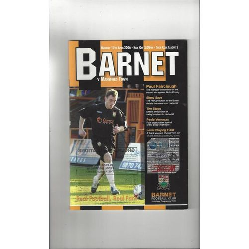 2005/06 Barnet v Mansfield Town Football Programme