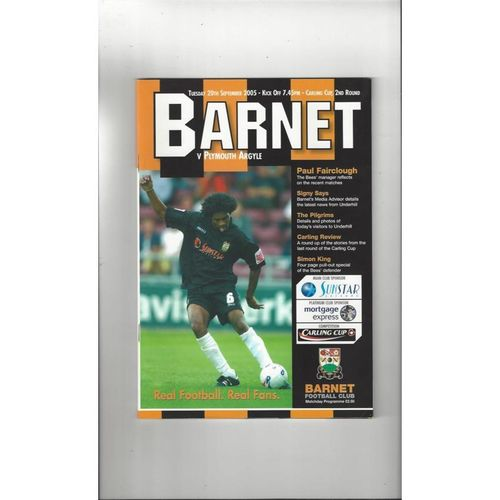 2005/06 Barnet v Plymouth Argyle Carling Cup Football Programme