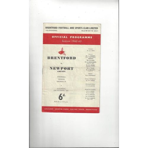 1962/63 Brentford v Newport County Football Programme