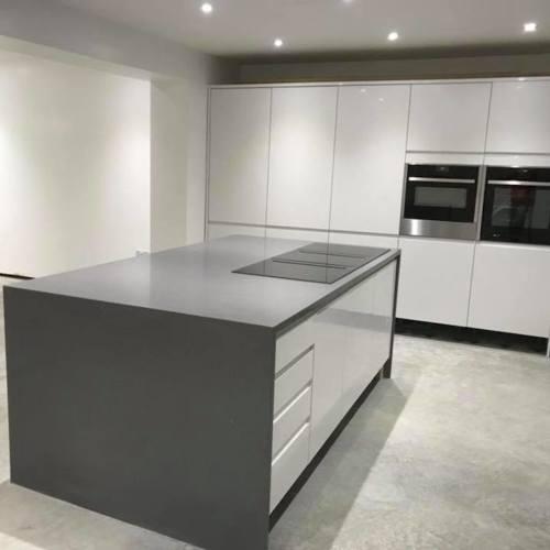 Compac quartz grey kitchen worktop