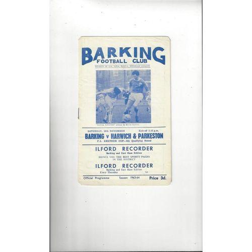 1963/64 Barking v Harwich & Parkeston Amateur Cup Football Programme