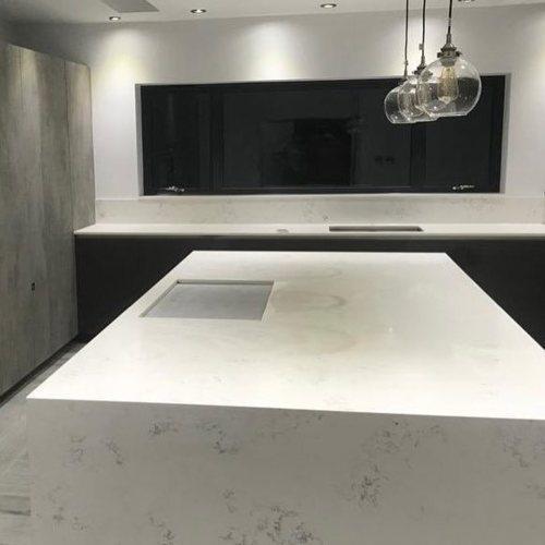 Carrara quartz kitchen worktop