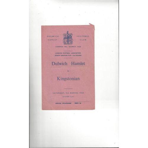 1962/63 Dulwich Hamlet v Kingstonian Amateur Cup Football Programme