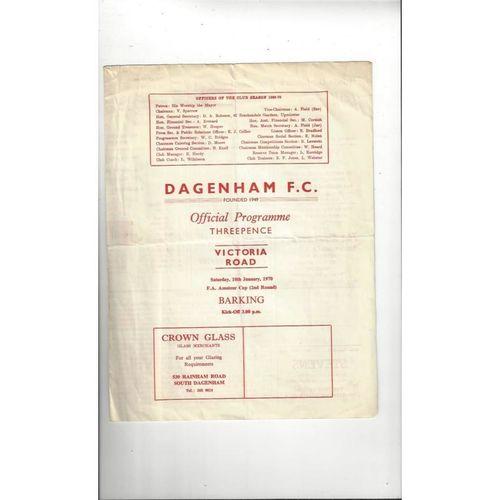 1969/70 Dagenham v Barking Amateur Cup Football Programme