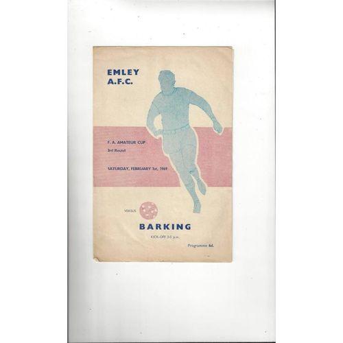 1968/69 Emley v Barking Amateur Cup Football Programme