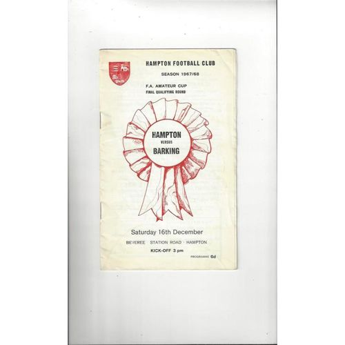 1967/68 Hampton v Barking Amateur Cup Football Programme