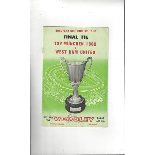 1965 TSV Munchen 1860 v West Ham United European Cup Winners Cup Final Programme