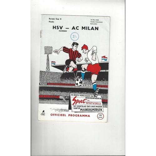 1968 Hamburg v AC Milan European Cup Winners Cup Final football Programme