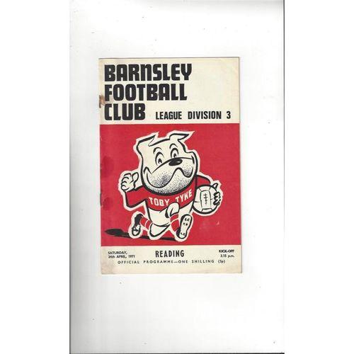 1970/71 Barnsley v Reading Football Programme